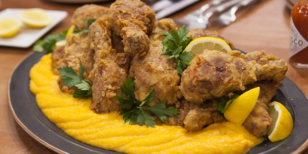 баба's sweet tea-brined fried chicken with butternut squash puree