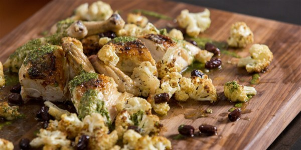 Spatchcock Chicken with Roasted Cauliflower and Salsa Verde