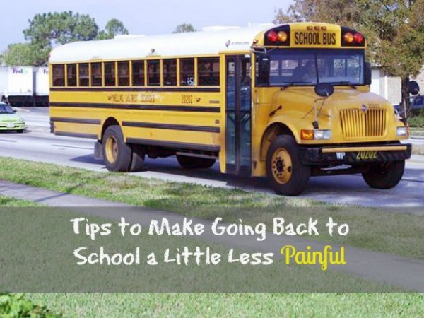Schule bus photo with message about making the return to school less painful