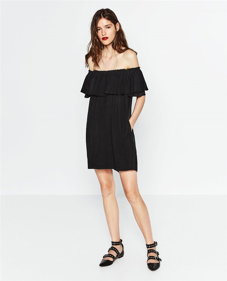 Zara black off-the-shoulder dress