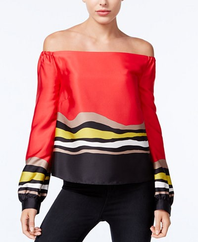 Macy's Rachel Rachel Roy Striped Off-The-Shoulder Top