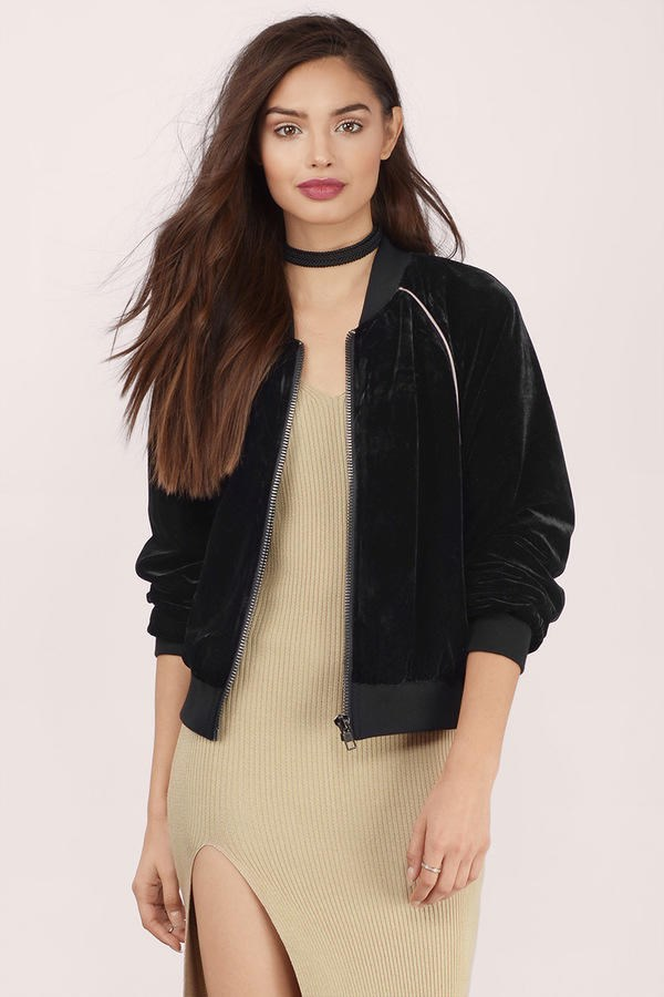 TOBI Velvet Crush Bomber Jacket