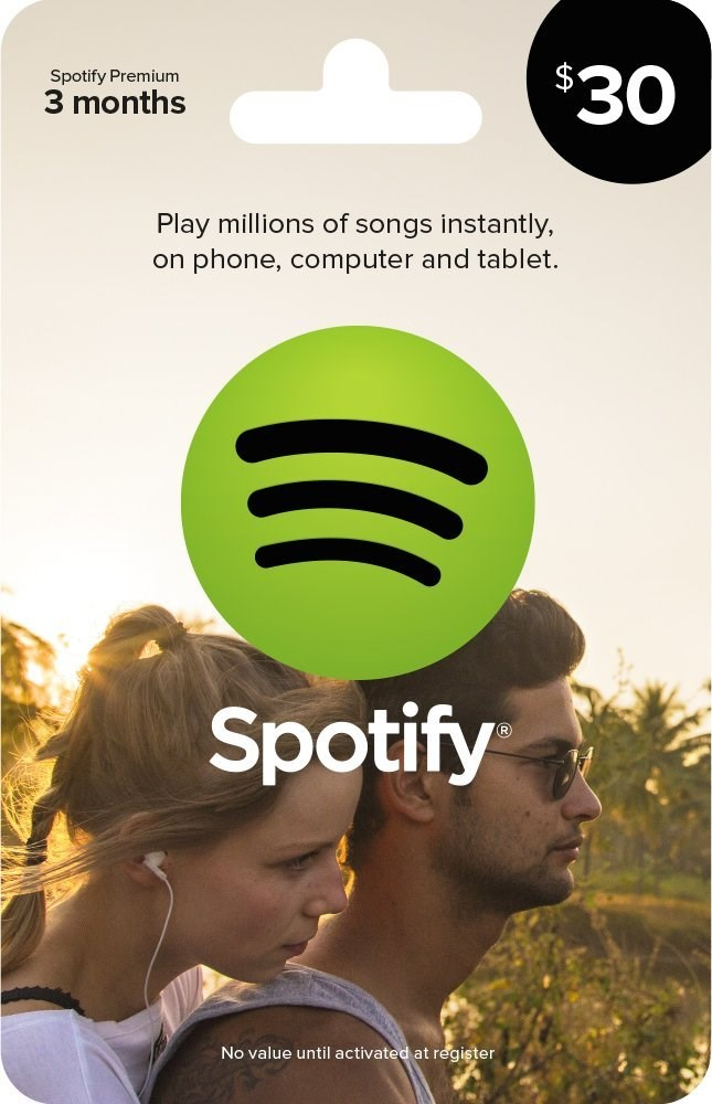 Spotify的 Gift Card