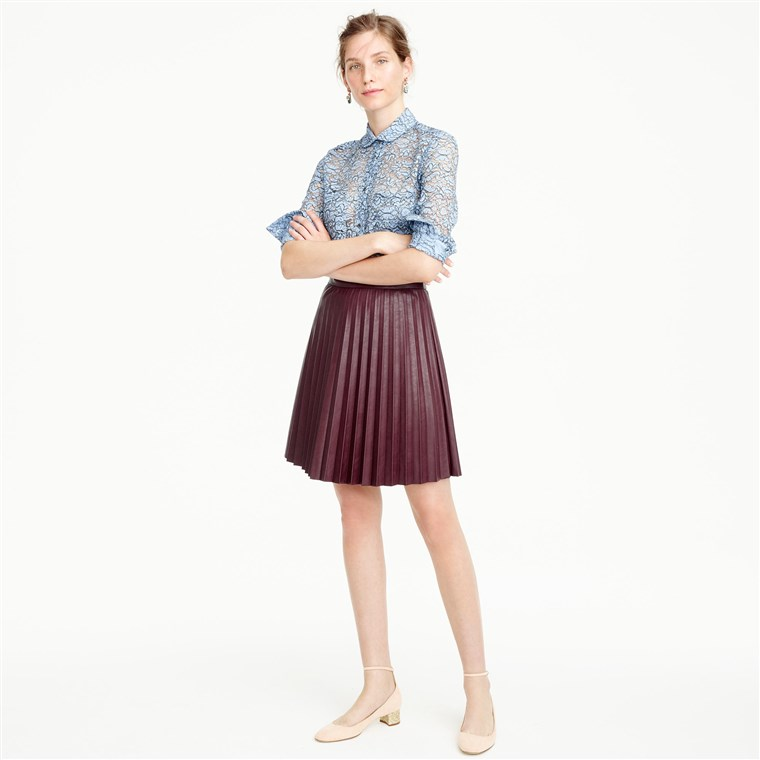 J.Crew faux leather pleated mini skirt
