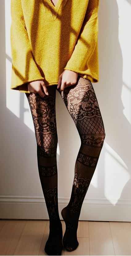 Frei People Floral Patch Tights