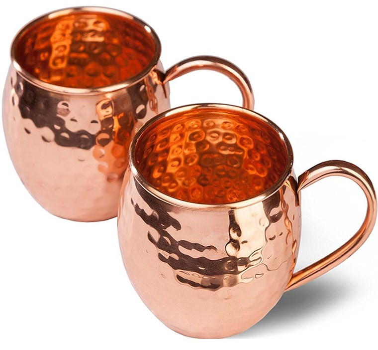 لذيذ sphere Copper Moscow Mule Mugs Delicious Sphere with 2 Straws Delicious Sphere Solid Handcrafted Copper Hammered Cups Set