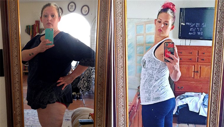 ضبابي Mitchell cut alcohol out of her diet and lost 139 pounds.