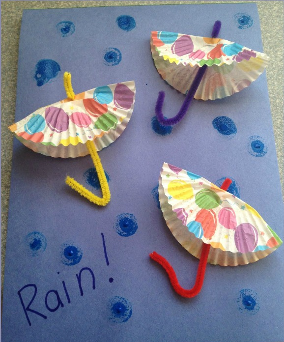 DIY rainy day paper umbrellas