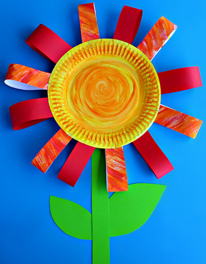 Papier plate flower craft for kids