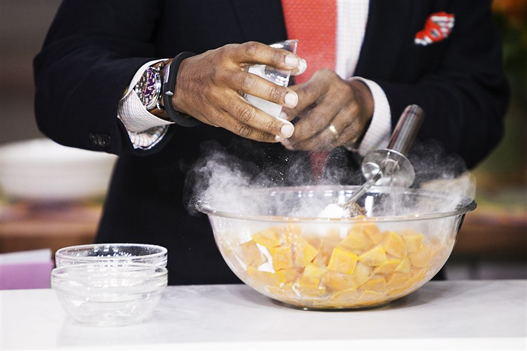 Al Roker prepares sweet potato poon on the Today show in New York, on Nov. 20, 2014.