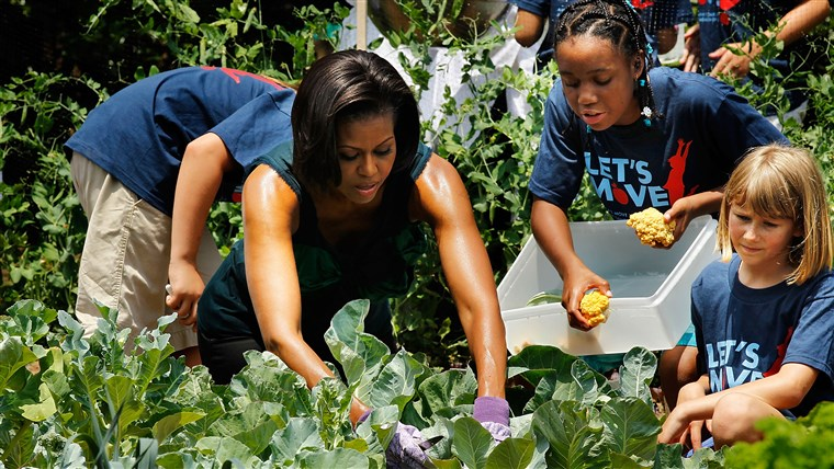 Мишел Obama Hosts Chefs, Harvests From White House Garden