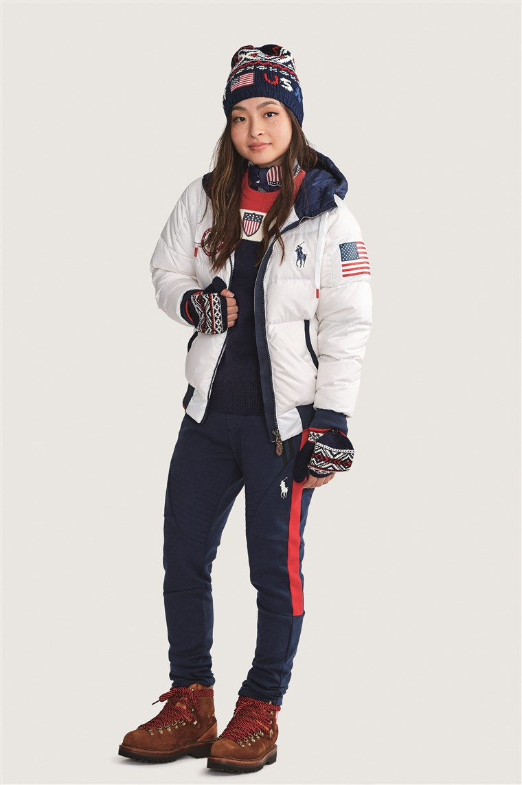 Olympian Maia Shibutani models Team USA's official closing ceremony uniform for the 2018 Winter Games.