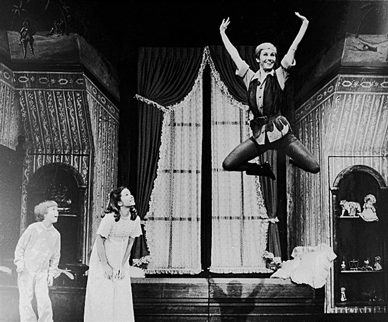 Sandy Duncan takes flight as Peter Pan on Broadway with a new set of Darling children played by Marsha Kramer and Jonathan Ward.
