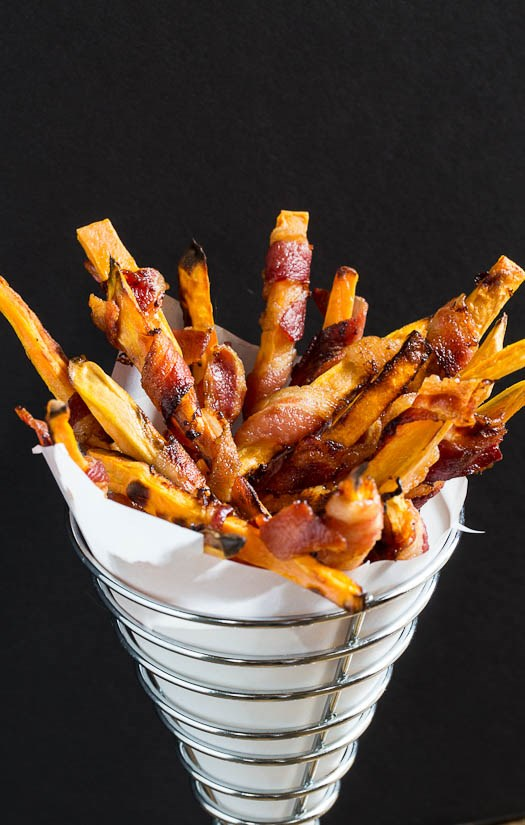 甜 potato fries wrapped in bacon