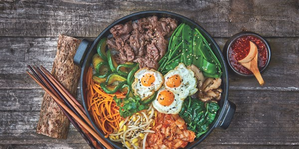 Bibimbap (Mixed Vegetable and Rice Bowl with Beef)