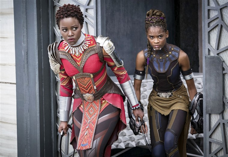 Lupita Nyong'o stars as Nakia and Letitia Wright stars as Shuri in Walt Disney Pictures' Black Panther (2018)