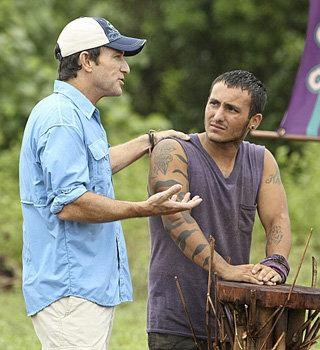 Jeff Probst tries to calm Brandon Hantz of the Bikal Tribe during the explosive fifth episode of