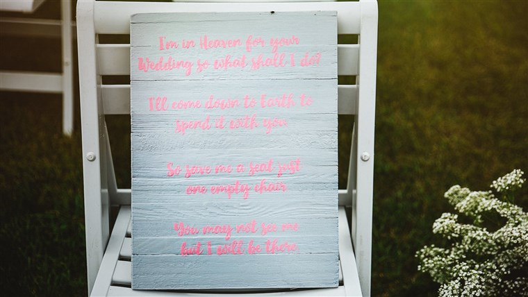 А special chair at the wedding was dedicated to the memory of Becky's son Triston.