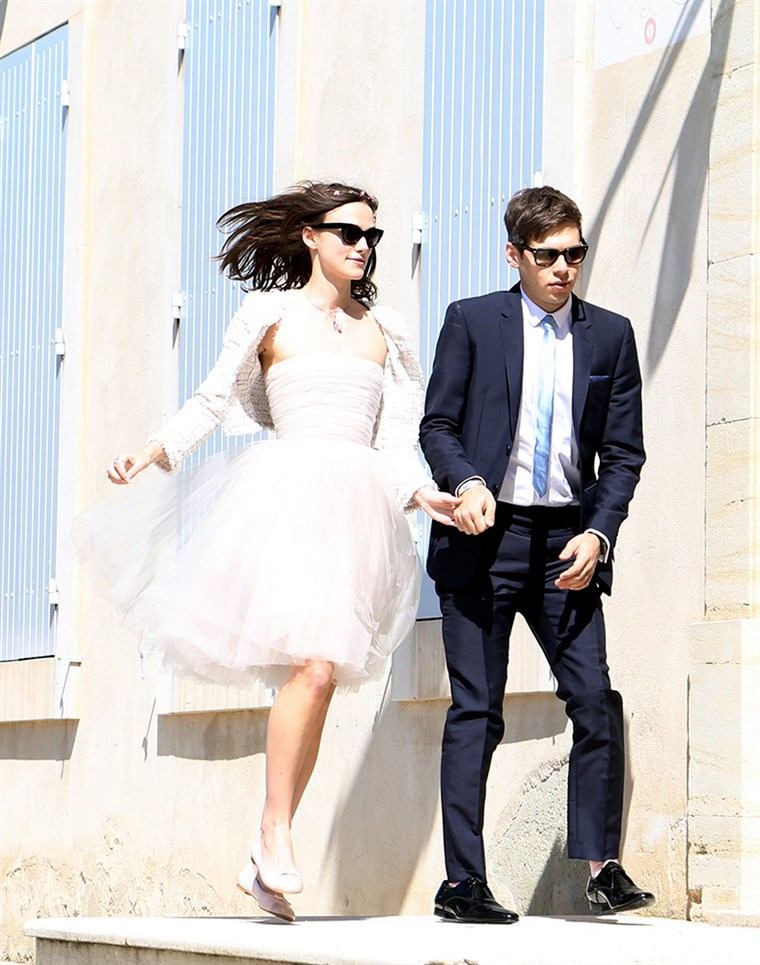 Auch chic: Keira Knightley married James Righton in cute flats at the French provencal village of Mazan, on May 4, 2013.