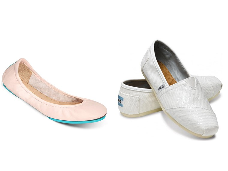 Süss and comfy: Tieks in ballerina pink and metallic TOMS slip-ons in white.
