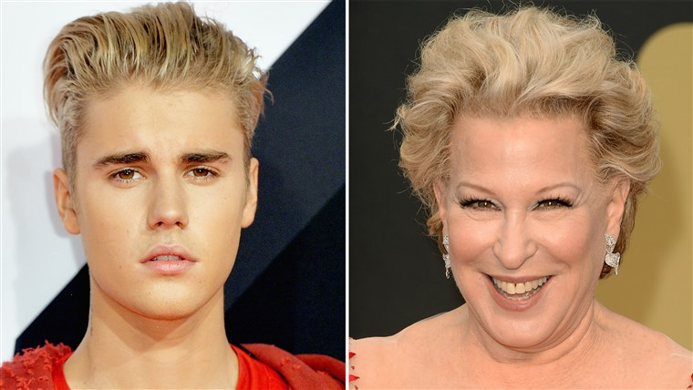 MAILAND, ITALY - OCTOBER 25: Justin Bieber attends the MTV EMA's 2015 at the Mediolanum Forum on October 25, 2015 in Milan, Italy. (Photo by Anthony Harvey/Getty Images for MTV) HOLLYWOOD, CA - MARCH 02: Bette Midler attends the Oscars held at Hollywood & Highland Center on March 2, 2014 in Hollywood, California. (Photo by Jason Merritt/Getty Images)