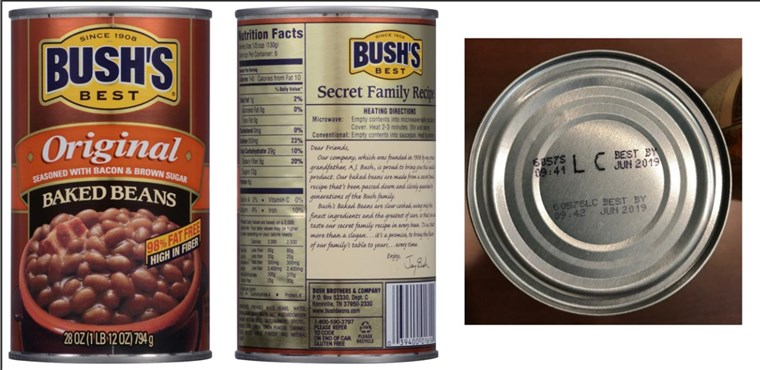 [يوليو 22, 2017]: BUSH'S(R) BEST ORIGINAL BAKED BEANS Voluntary Recall - 28 ounce with UPC of 0 39400;01614 4 and Lot Codes 6057S LC and 6057P LC with the Best By date of Jun 2019