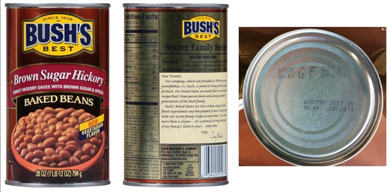 [يوليو 22, 2017]: BUSH'S(R) BEST BROWN SUGAR HICKORY BAKED BEANS Voluntary Recall - 28 ounce withUPC of 0 39400 01977 0 and Lot Codes 6097S GF and 6097P GF with Best By date of Jun 20