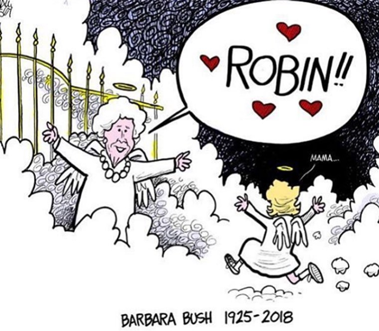 карикатура showing Barbara Bush reunited in heaven with daughter, Robin
