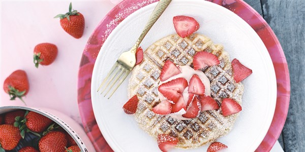 Yeasted Waffles with Strawberry Cream