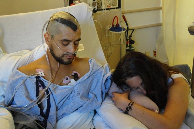 Eduardo Garcia, who suffered 21 surgeries after he touched a live electrical wire, on the first night after his hand was amputated with his girlfriend at the time, Jennifer Jane.