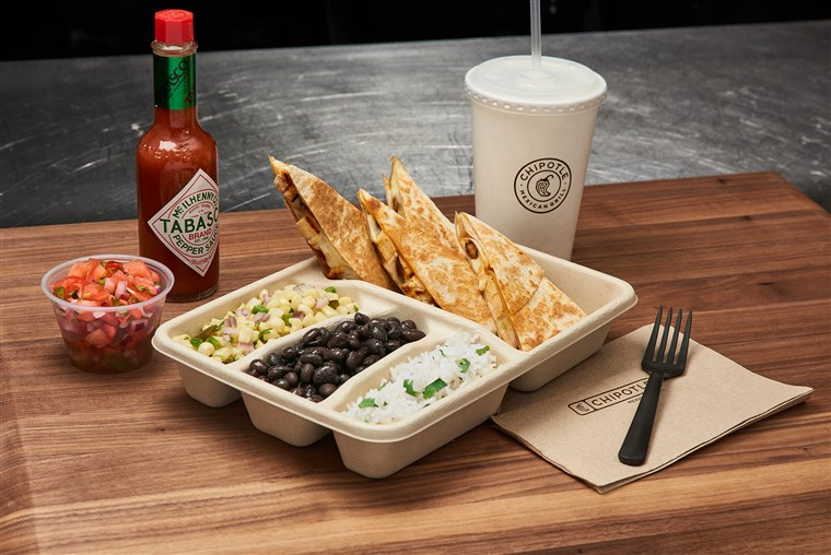 Chipotle's new quesadillas are being served in their test kitchen in New York City.