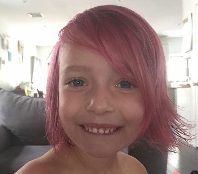 Bianca Jamotte's daughter, Lily, with her magenta hair.