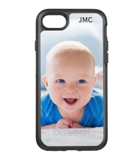 iPhone case with picture of baby and monogram