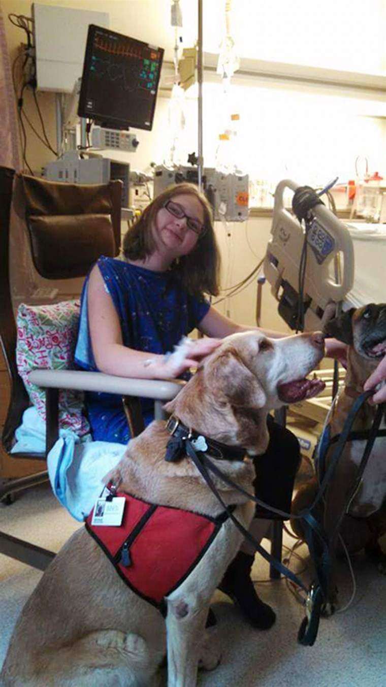 Aimee Champagne with her therapy dog