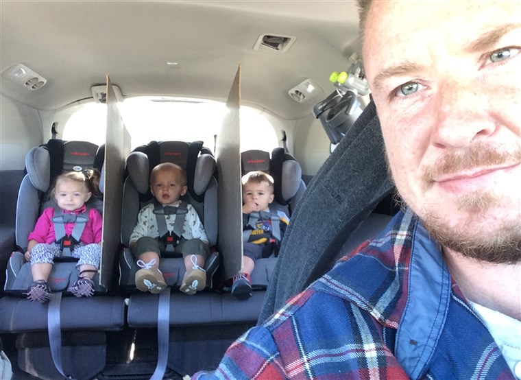 Gad goes viral after creating divider walls between his triplets' car seats to keep them from fighting.
