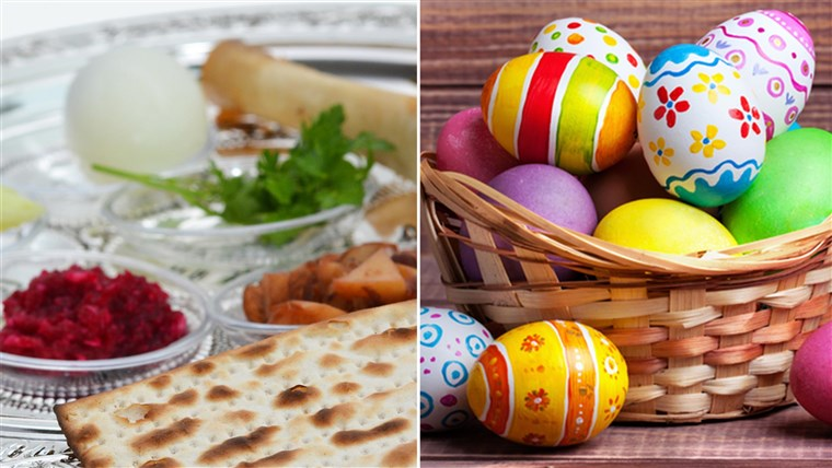 عيد الفصح eggs and Passover matzoh