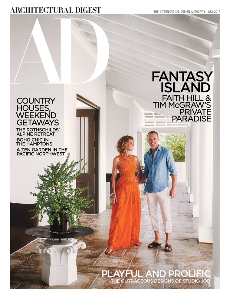 Glauben Hill, Tim McGraw on July cover of Architectural Digest
