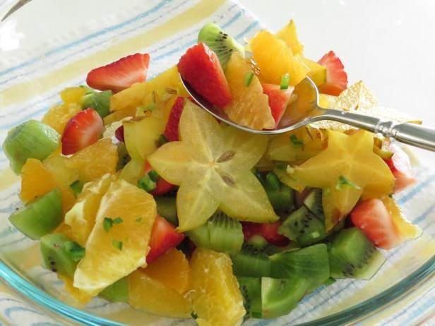 тропически fruit salad with sweet and spicy dressing from Garlic and Zest