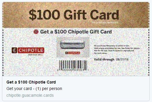 Chipotle $100 gift card scam