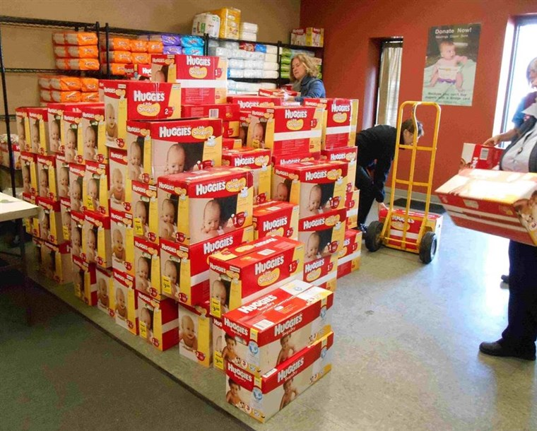 Boxen of donated diapers arrive at Nestlings Diaper Bank, which serves Western Michigan.