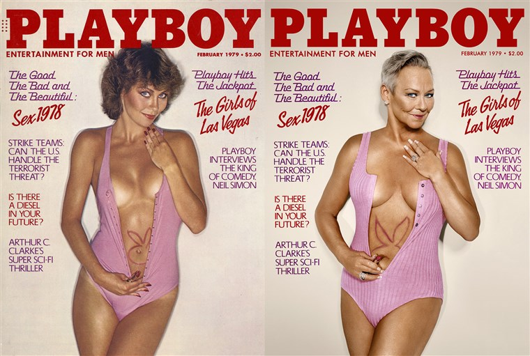 Candace Collins re-created her February 1979 Playboy cover.