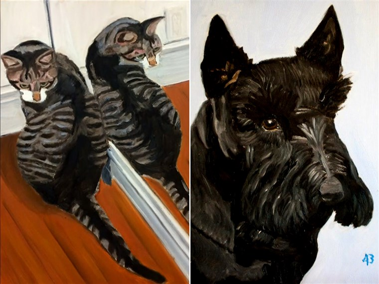 Ehemalige President George W. Bush chose his pets -- his dog, Barney, and cat, Bob -- as the subjects of his initial paintings.