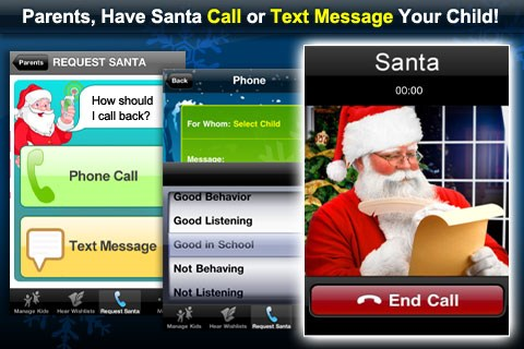 Santa's Magic Phone is an app that lets kids call and text with Santa Claus.