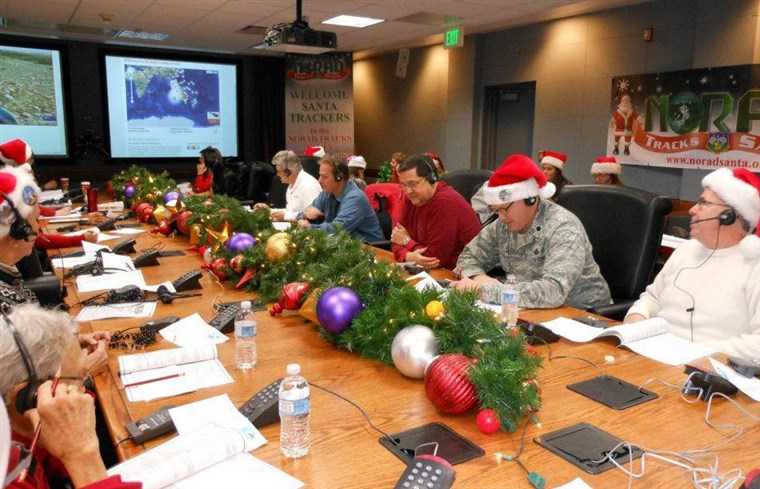 Více than 1,500 volunteers gather on Christmas Eve to help with NORAD's tracking of Santa's flight each year.