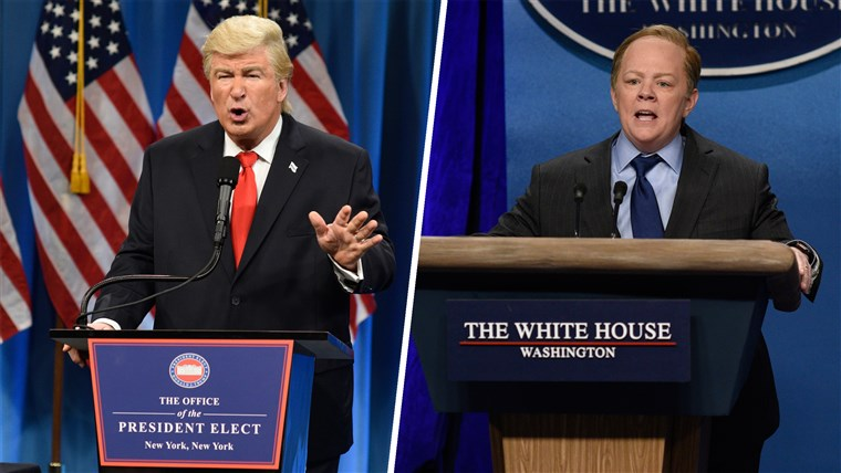 Alec Baldwin as Trump and Melissa McCarthy as Sean Spicer on