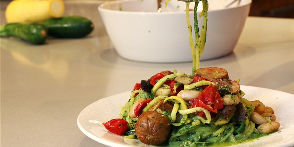 Натали's Zucchini 'Pasta' with Pesto