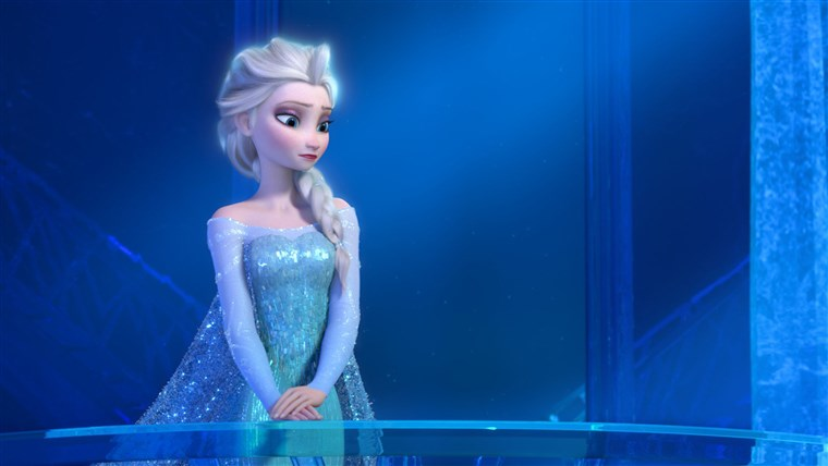 Това image released by Disney shows a teenage Elsa the Snow Queen, voiced by Maia Mitchell, in a scene from the animated feature