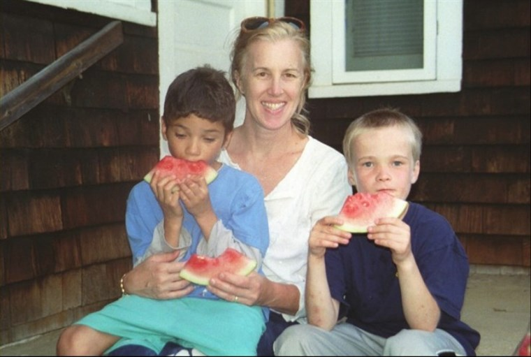 Margaret Schwartz and her two adopted sons.