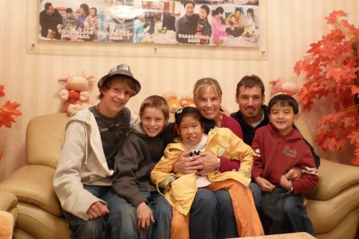 Das Cunningham family on the day that daughter Cate was adopted from China.