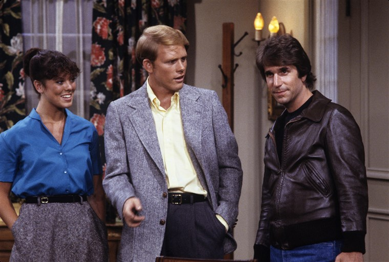 Ерин Moran, Ron Howard, Henry Winkler on 'Happy Days'